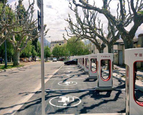 Zona de súperchargers Tesla